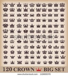 Photo about crown icons vector set. Illustration of crown, vintage, line - 36314705 Crown Tattoos For Women, King Crown Tattoo, Queen Tattoo, Couple Tattoos, New Tattoos, Body Art Tattoos, Tattoos For Guys, Tatoos, Symbol Tattoos