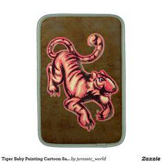Tiger Baby Painting Cartoon Salmon Brown MacBook Sleeve