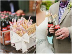 coke in glass bottles with straws!