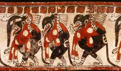 "Maya vase from the Justin Kerr Data Base of Maya vase paintings, depicts three underworld jaguars which may symbolize the three hearth stones of creation, a ""trinity of gods"" in Maya religion known at the archaeological site of Palenque as GI, GII, GIII.  The underworld jaguars all wear mushroom shaped ear plugs, and wear sacrificial scarves, symbolic of underworld decapitation. The scarves metaphorically bear the colors and spots of the Amanita muscaria mushroom."