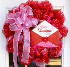 Valentine's Day Wreath Mesh Hearts. $85.97, via Etsy.