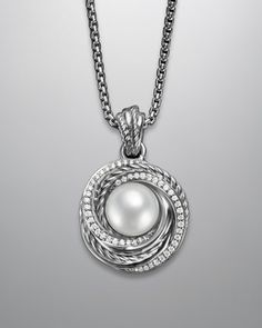 "Pearl Crossover Necklace, 18""L by David Yurman at Neiman Marcus."