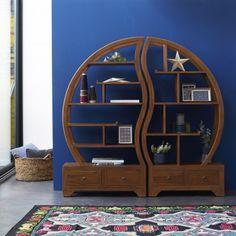 Such a cool looking bookshelf! Sphère Bi Ying Yang Teak Bookshelf by Tikamoon