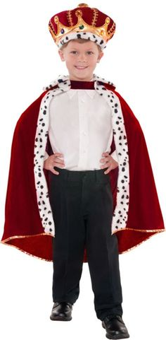Long live the king! King Cape is a faux fur trimmed, plush burgundy cape with gold trim and hook and loop closure. One size king cape fits most children. Halloween Costume Shop, Christmas Costumes, Halloween Costumes For Kids, Christmas Crafts, Toddler Costumes, Adult Costumes, Animal Costumes, Letterland Costumes, King Costume For Kids