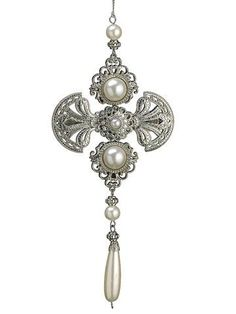 """8.5"""" Glamour Time Silver Medallion Pearl Christmas Drop Ornament"""