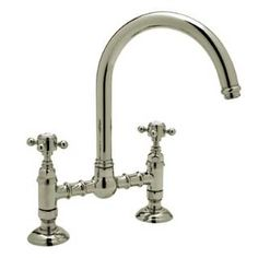 Rohl A1461LMSTN-2 Country Deck Mount Kitchen Bridge Faucet in Satin Nickel with Metal Lever Handle