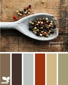 This color scheme is a lot of my main floor. Red accents, taupe/tan walls, green in the kitchen, maybe chocolate brown dyed slipcover sofa and chairs. It would be fun to add a bit of that gray color in as wellen color palate!