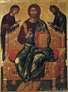 Ikonenmalerei: Deesis / Icon by Angelos / Art Print, Canvas on Stretcher Byzantine Icons, Byzantine Art, Religious Icons, Religious Art, Monastery Icons, Orthodox Catholic, Church Icon, Roman Church, Best Icons