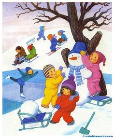 Imágenes educativas | El otoño - Las estaciones del año - Web del maestro Drawing For Kids, Painting For Kids, Art For Kids, Four Seasons Art, Picture Comprehension, Picture Composition, Winter Activities For Kids, Letters For Kids, Infant Activities