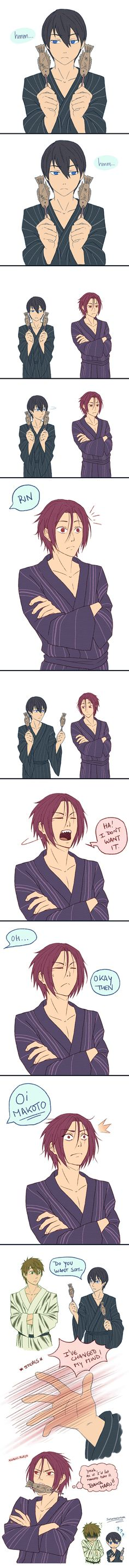 Free! ~~ When a fish-on-a-stick stands for something else entirely... ! :: fanart by sorceress dream on deviantART
