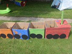 Cardboard Box Train-Paint and use for dramatic play!