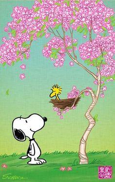 Snoopy cherry blossom digital art by lil boy Snoopy Cartoon, Snoopy Comics, Peanuts Cartoon, Peanuts Snoopy, Images Snoopy, Snoopy Pictures, Snoopy Wallpaper, Iphone Wallpaper, Spring Cartoon
