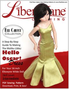 Hello Oscar Dress Pattern for Ellowyne Wilde Dolls | www.pixiefaire.com/collections/liberty-jane