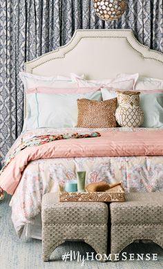 For a statement bedroom styling, try curtains behind an upholstered headboard and a stylish pendant light above the bed.