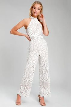 Your party look just got a lot more fun with the Lulus Britney White Lace Halter Jumpsuit! Sleek white eyelash lace, over a knit liner, shapes this jumpsuit. White Lace Jumpsuit, Strapless Jumpsuit, White Romper Pants, White Lace Pants, Pink Jumpsuit, Wedding Pants, Wedding Jumpsuit, Wedding Dresses, Homecoming Jumpsuit