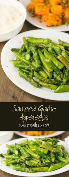 Sauteed Garlic Asparagus - Salu Salo Recipes Sauteed Garlic Asparagus<br> In this sauteed garlic asparagus recipe, the asparagus was cut diagonally into pieces and simply sauteed with garlic. It was that simple! Side Dish Recipes, Vegetable Recipes, New Recipes, Vegetarian Recipes, Cooking Recipes, Healthy Recipes, Recipies, Dinner Recipes, Bariatric Recipes