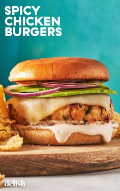 Chicken burgers are so easy to throw together and these are made with chipotle peppers to give them a little extra kick. Spicy Chicken Burgers Recipe, Chipotle Chicken Pasta, Kfc Chicken Recipe, Easy Chicken Recipes, Easy Recipes, Dog Recipes, Burger Recipes, Cooking Recipes, Tasty