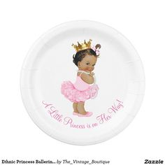 Ethnic Princess Ballerina Tutu Pearls Baby Shower 7 Inch Paper Plate