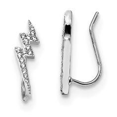 Lex /& Lu Sterling Silver w//Rhodium CZ /& FWC Pearl Star Post E