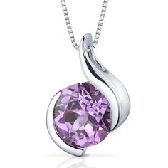 Stunning Sophistication 2.50 carats Round Shape Sterling Silver Rhodium Finish Pink Sapphire Pendant Peora. $29.99. Save 73% Off!