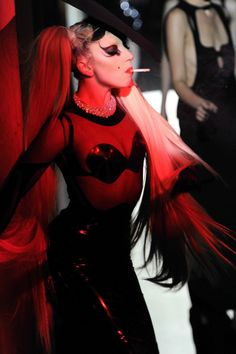 Lady Gaga poses on the Thierry Mugler F/W 11 runway (2011)