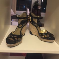 Charles by Charles David wedge platforms Charles by Charles David wedge platforms. Straw wedge and platform w/blk leather and snake print leather. Peep toe. Preloved and little chip out of rubber as shown in pic. But great condition otherwise. Charles David Shoes Platforms