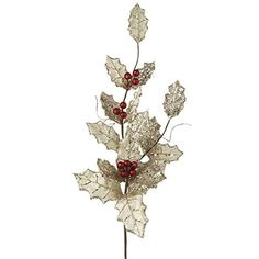 This spray has a brown stem. The leaves are velvet and an off-white color, accented with silver glitter. The holly berries are large, red and covered with red glitter. Tiffany Made of Polyester, but looks like velvet Measures Christmas Picks, White Christmas, Christmas Trees, Black Christmas Decorations, Holiday Mood, Holly Berries, Off White Color, Silver Glitter, Artificial Flowers