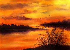 Sunset on the Lake - Brusho (Src - Sketching in Nature blog)
