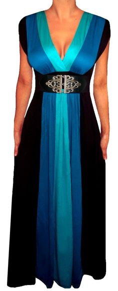 FUNFASH BLUE BLACK COLOR BLOCK LONG MAXI COCKTAIL DRESS MADE in USA