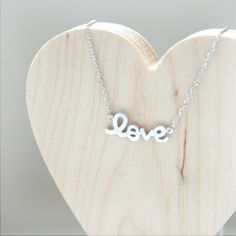 LOVE Necklace in silver by laonato on Etsy, $15.00