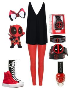 """""""Daughter of Deadpool Casual"""" by lunalynch13 ❤ liked on Polyvore featuring mode, Frame Denim, STELLA McCARTNEY, Converse, women's clothing, women's fashion, women, female, woman et misses"""