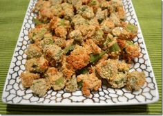 Crunchy Baked Okra by Hungry Meets Healthy... someone made some kind of baked okra at church Sunday and it was sooooo good!