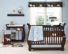 blue elephant baby bedding   Elephant Blue Crib Bedding Set: Kidsline Baby Bedding from Baby ...