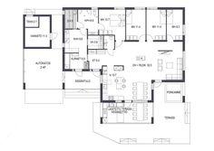 kuva Future House, House Plans, Floor Plans, Diagram, Layout, How To Plan, Building, House Ideas, Amigurumi