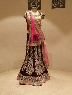 Maroon Velvet Lehenga Choli With Resham Work