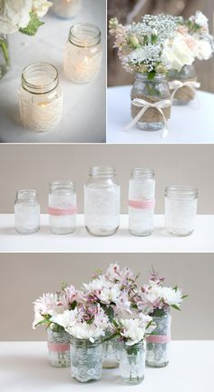 get creative with these 44 diy mason jar crafts. you don't need advanced carpentry skills to get started with diy mason jar crafts check out the best design ideas and create your own decoration. Pot Mason Diy, Mason Jar Crafts, Mason Jars, Pots Mason, Wedding Table Decorations, Wedding Centerpieces, Centrepieces, Mason Jar Centerpieces, Diy And Crafts Sewing