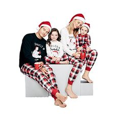 f6e56bed11 Ropalia Matching Family Pajamas Sets Christmas Children Adult Sleepwear  Outfit