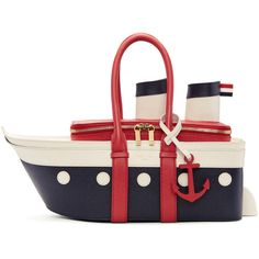 Thom Browne for Women Collection Leather Baby Bag, White Leather Handbags, Leather Duffle Bag, Leather Purses, Duffel Bag, Unique Handbags, Unique Purses, Purses And Handbags, Creative Bag