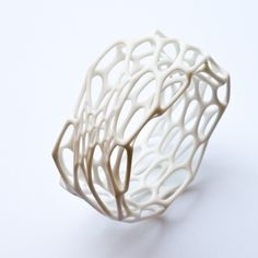 Interstice bracelet - white nylon 3d-printed bangle. $80.00, via Etsy.