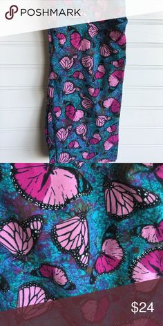 LuLaRoe OS Butterfly Legging BNWT butterfly leggings teal and purple shades LuLaRoe Pants Leggings