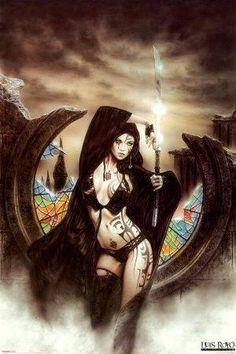 Gothic Fantasy Art, Beautiful Fantasy Art, Fantasy Artwork, Glow In Dark Party, Luis Royo, Witch Art, Anime Art Girl, Figurative Art, Female Art