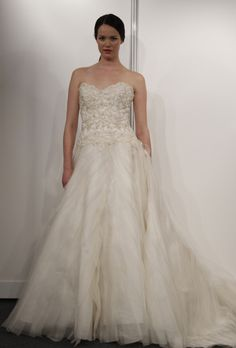 Brides: Eve of Milady - Spring 2013. Style 1488, strapless silk organza ball gown wedding dress with a beaded sweetheart bodice, Eve of Milady