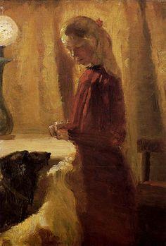 Anna Ancher Die Hunde werden gefüttert