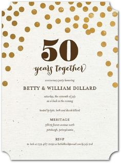 50th wedding anniversary invitations gold glitter - Party Invitation Ideas 50th Wedding Anniversary Invitations, 60th