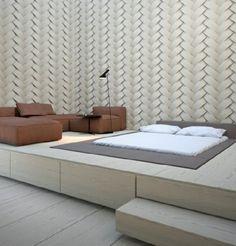 schlafzimmer ideen bett bettenarte eingebaut fußboden podest holzplattform