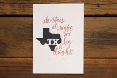 Texas Letterpress Print - I think my Mommy needs this.  :)