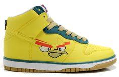 Angry Birds Nike Dunks SB High Top Top Men Women Yellow Shoes
