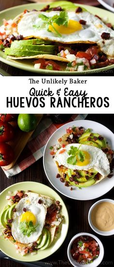 Substitute chorizo for a vegan version. Start the day sunny side up! Here's a delicious and easy huevos rancheros recipe that you can whip up for a Mexican-style breakfast in no time at all. Vegetarian Breakfast, Best Breakfast, Healthy Breakfast Recipes, Brunch Recipes, Healthy Recipes, Breakfast Ideas, Easy Recipes, Oven Recipes, Sausage Recipes