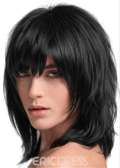 Ericdress Layered Shag Hairstyle with Full Fringe Middle Length Synthetic Capless Women Wigs Medium Hair Cuts, Short Hair Cuts, Medium Hair Styles, Short Hair Styles, Short Straight Hair, Medium Shag Haircuts, Haircuts With Bangs, Pelo Color Plata, Crimped Hair