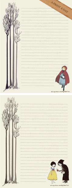 Fairy tales notes printable. Notes de contes de fades per imprimir